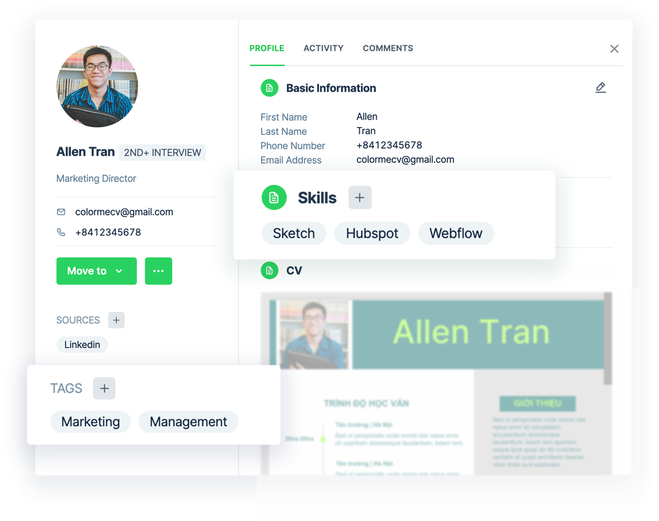 Add skills and tags to categorize your candidates