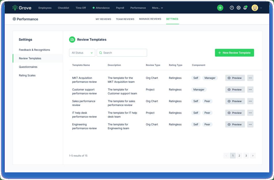 Grove HR - performance review template screenshot
