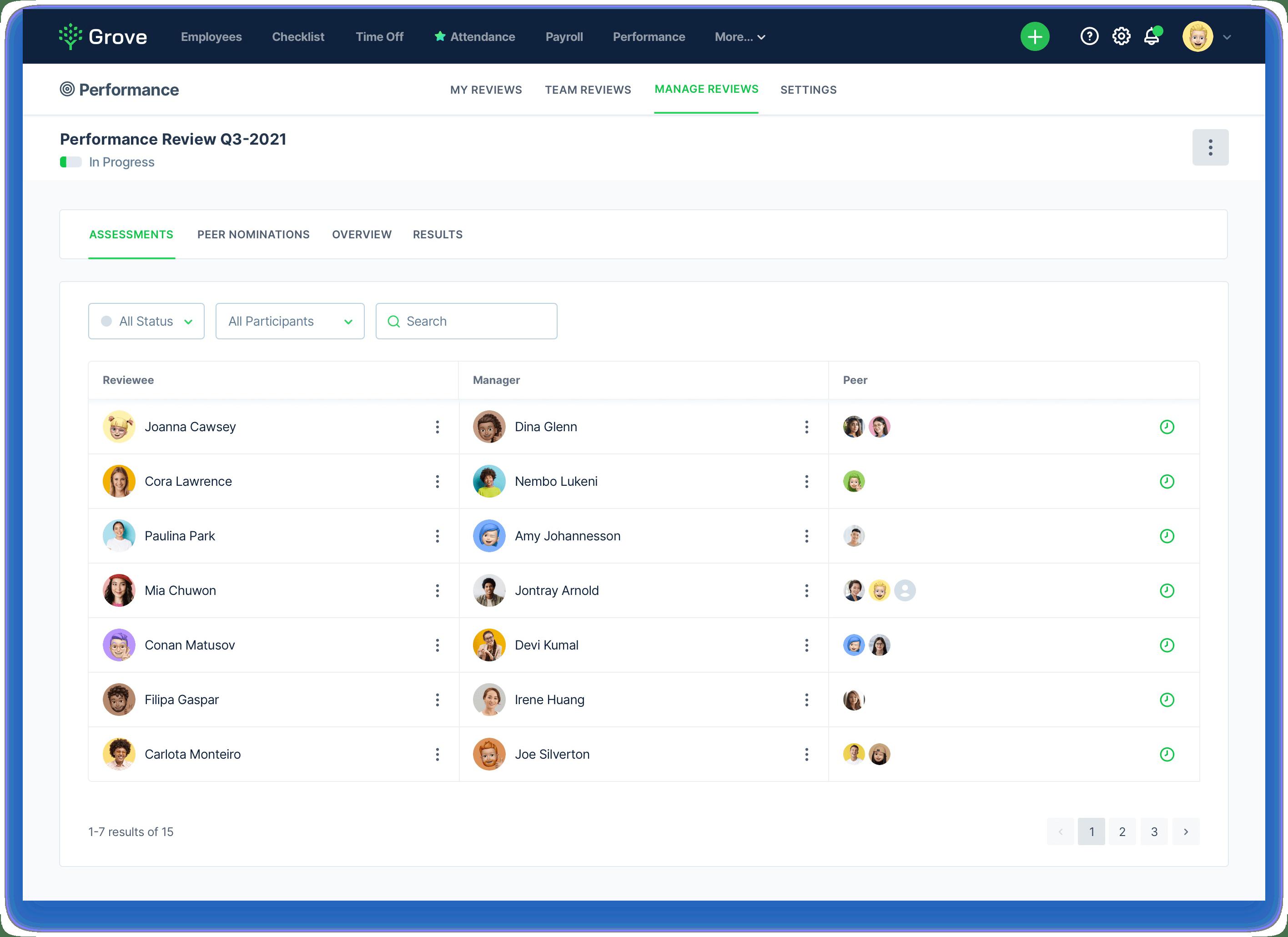 Grove HR - Peer review screenshot