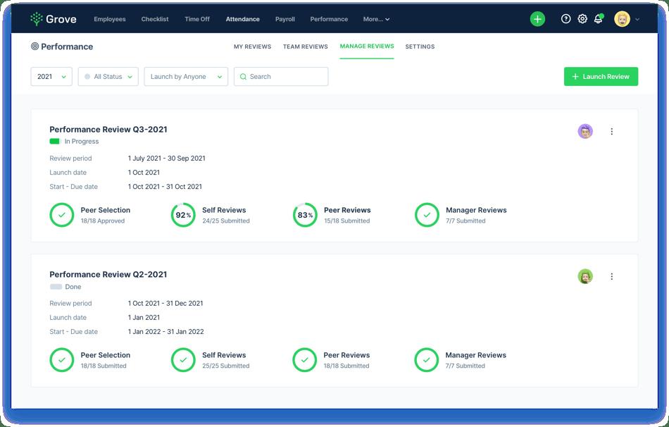 Grove HR - Performance review dashboard screenshot