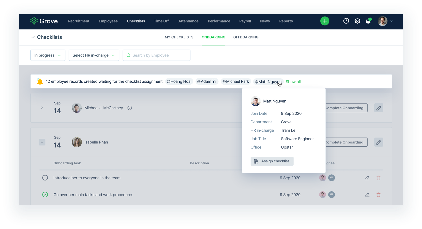 Grove HR - Onboarding quick action