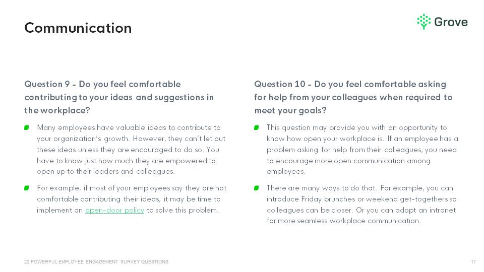Grove HR - 22 powerful employee engagement survey questions slider 2