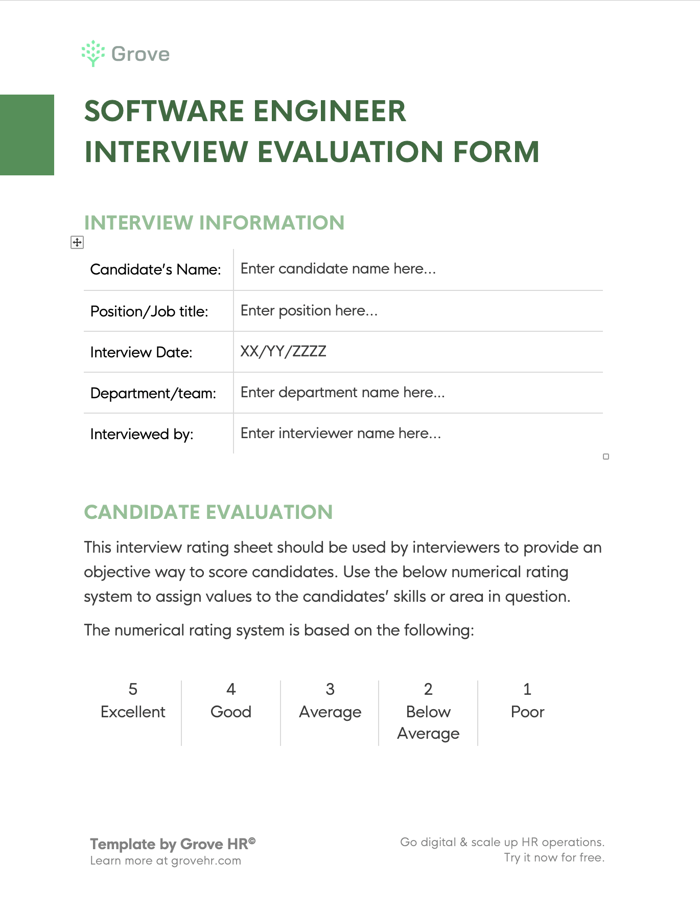 Grove HR - Interview evaluation form for SE s2