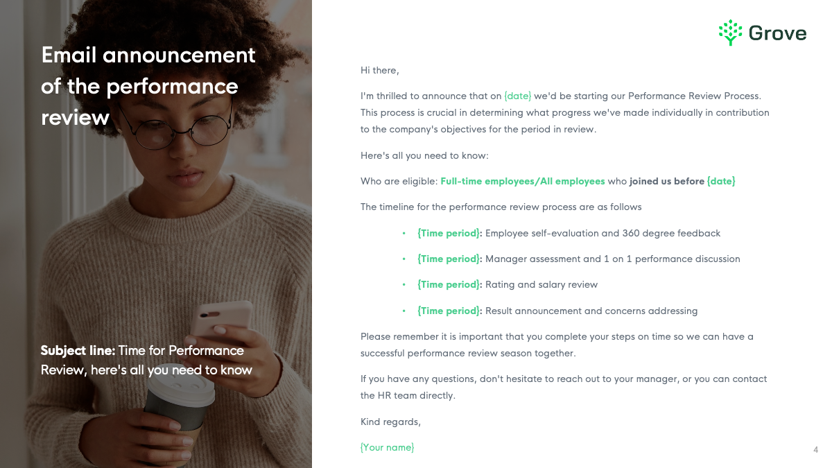 Grove HR - 8 essential email templates for performance review slider 1