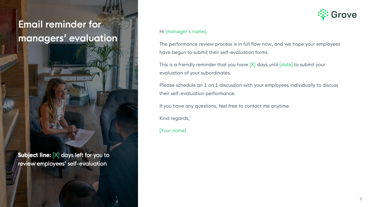 Grove HR - 8 essential email templates for performance review slider 3