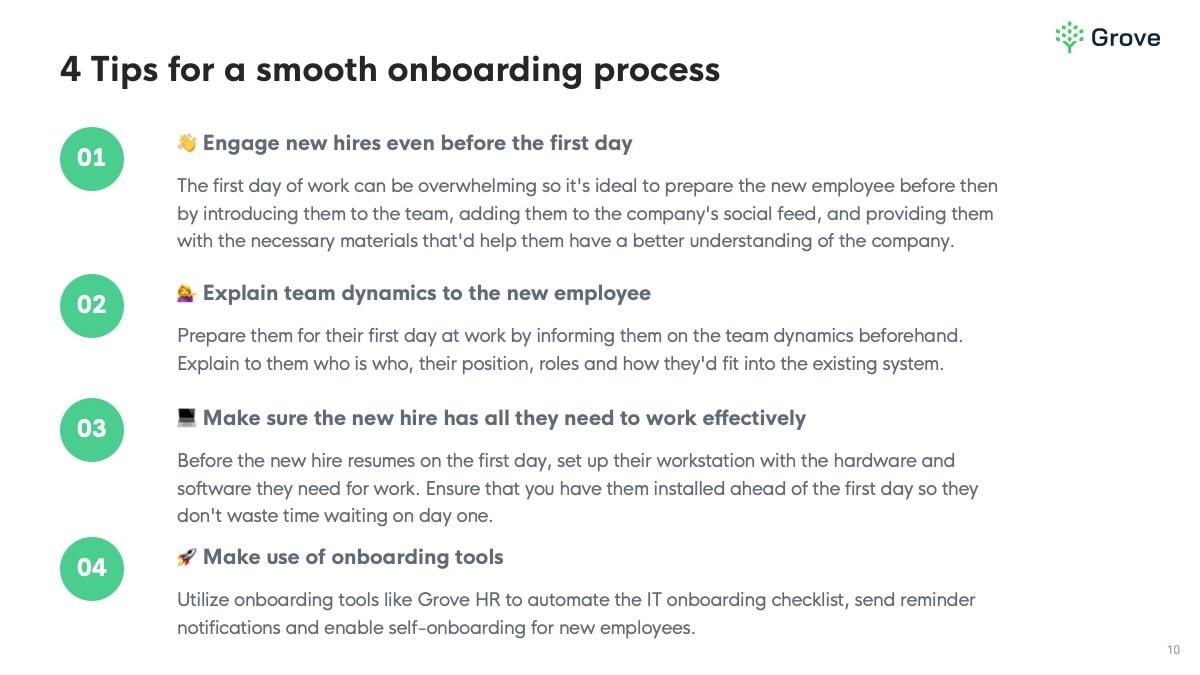 Grove HR - IT onboarding checklist slider 5