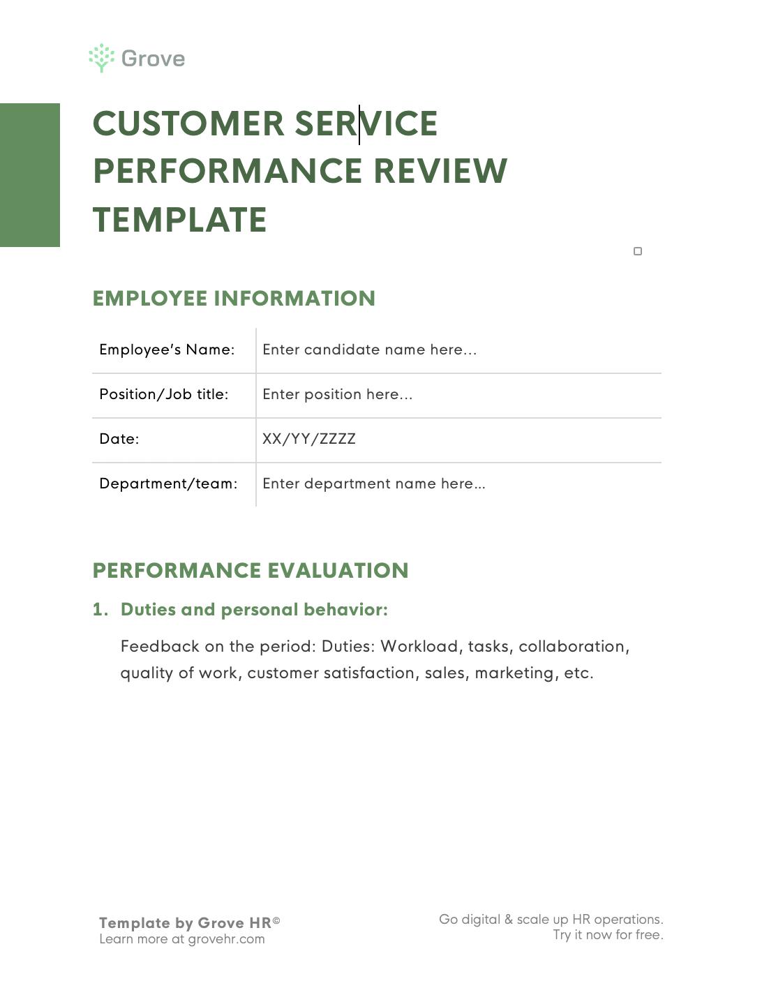 Grove HR - Customer service performance review template slider 2