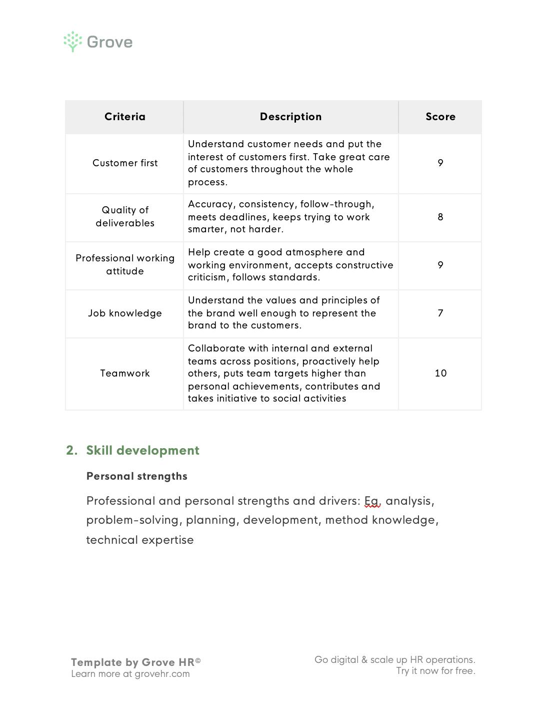 Grove HR - Customer service performance review template slider 3