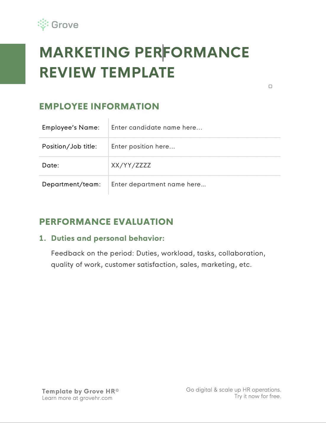 Grove HR - Marketing performance review template slider 2