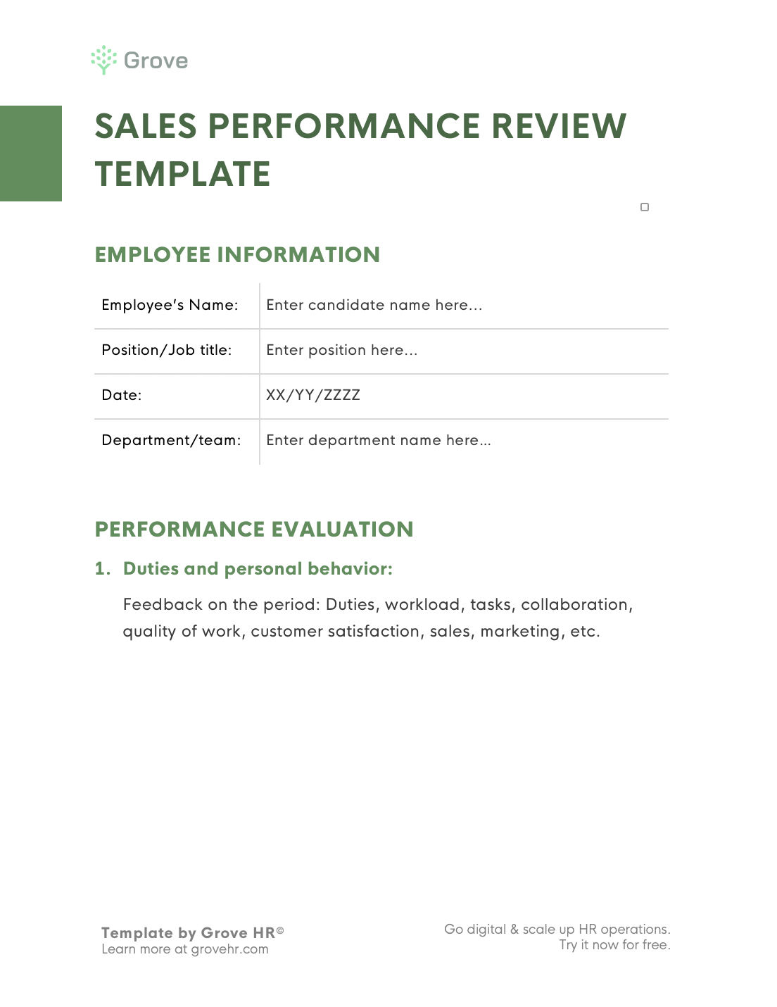 Grove HR - Sales performance review template slider 2