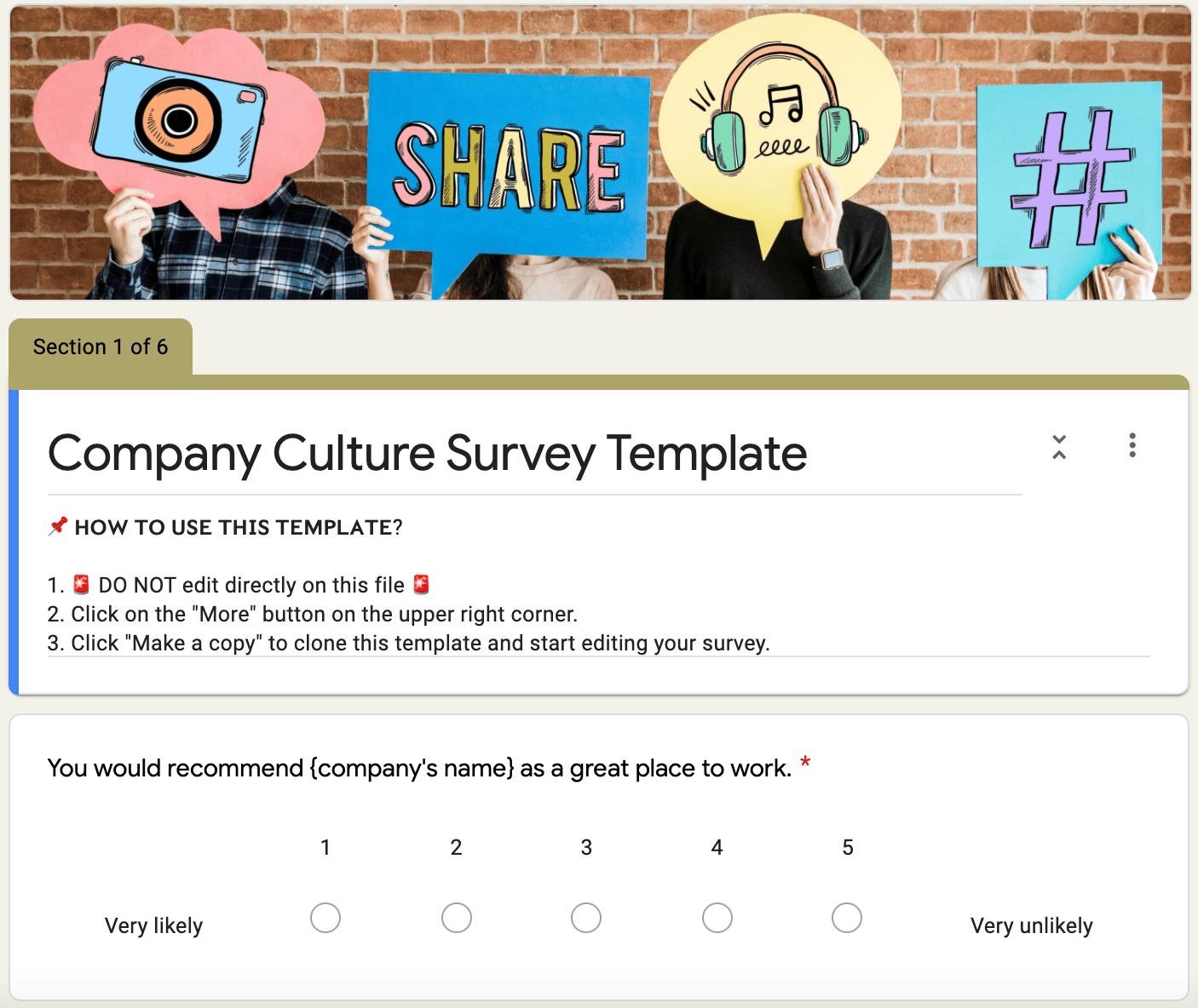 Grove HR - company culture survey template 1