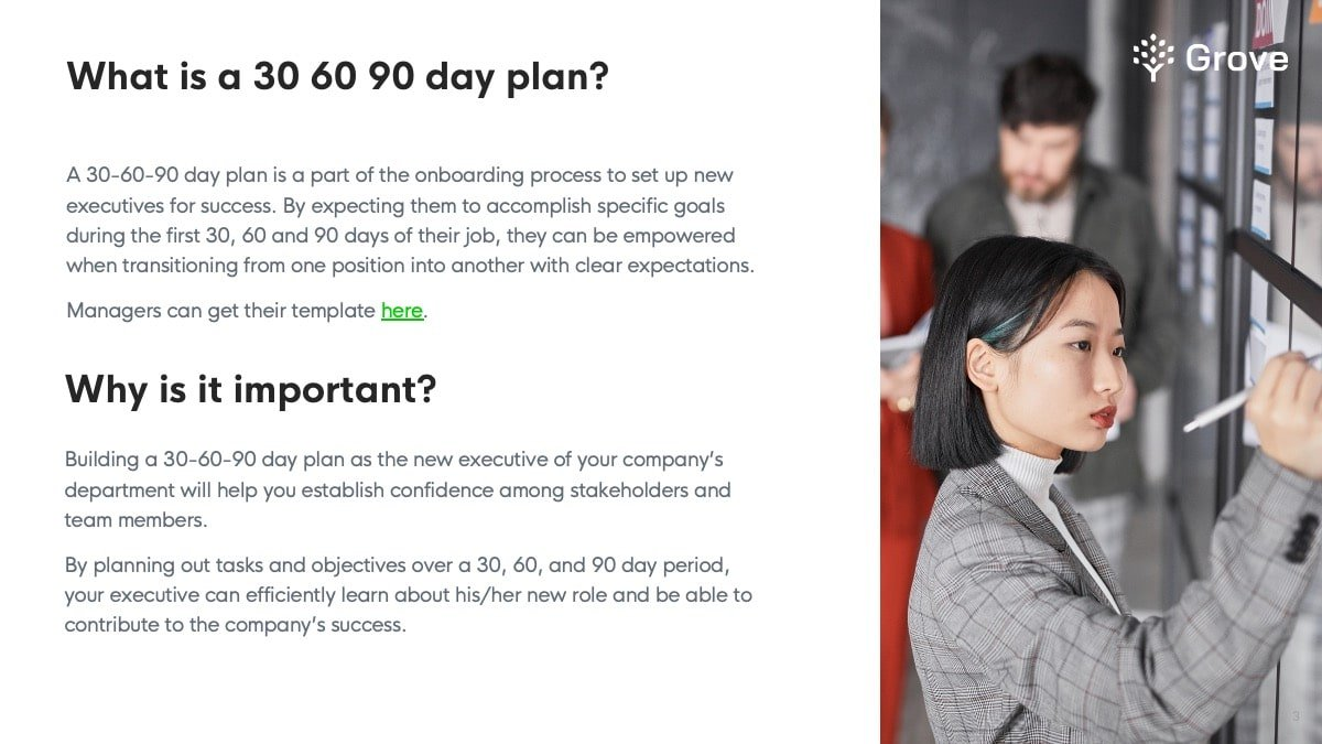 Grove HR - 30 60 90 day plan for executive template slider 1