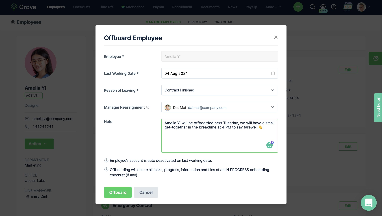 Grove HR - Automated offbarding checklist