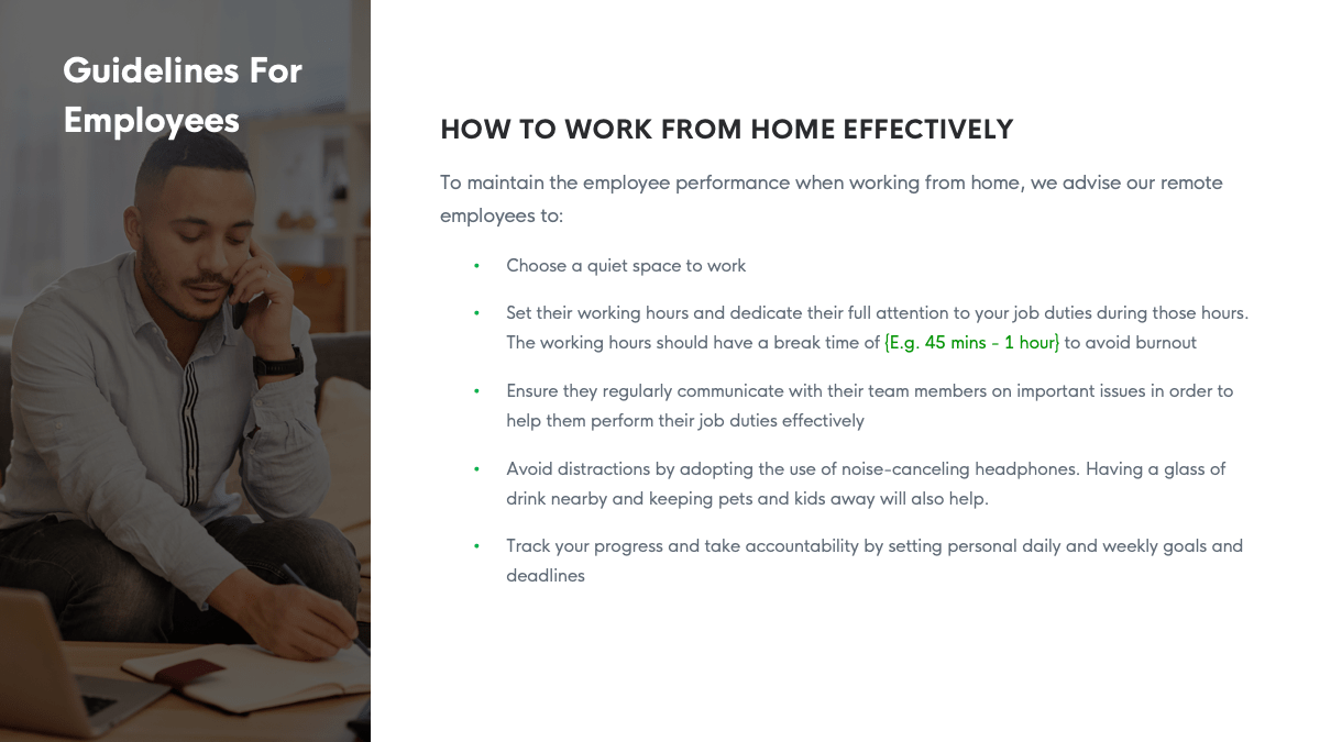 work from home guidelines screenshot